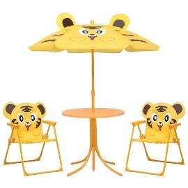 vidaXL 3-cz. dziecięcy zestaw mebli do ogrodu, z parasolem, żółty48100