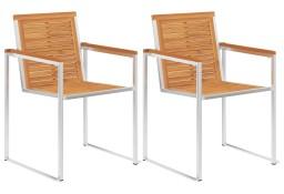 vidaXL Krzesła ogrodowe, 2 szt., lite drewno akacjowe, stal nierdzewna46495