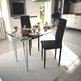 vidaXL Krzesła stołowe, 2 szt., czarne, sztuczna skóra241496