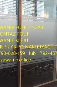 Usługa demontażu usuwania folii one way vision z szyb, witryn-demontaż naklejek,folii ,usuwanie kleju Folkos Warszawa-2