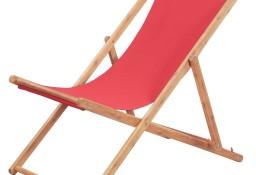 vidaXL Składany leżak plażowy, tkanina i drewniana rama, czerwony 43999
