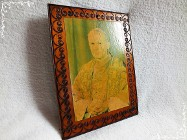 Stary mały obrazek w drewnie Święty Jan Paweł II Papież