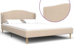 vidaXL Rama łóżka, tkanina, beżowa, 140 x 200 cm 280644