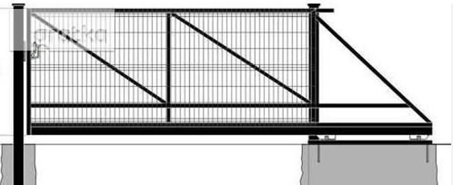 Brama przesuwna wypełniona panelem oc+kolor 150x400cm