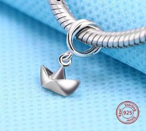 Pandora Charm koralik łódka statek jacht żaglówka origami