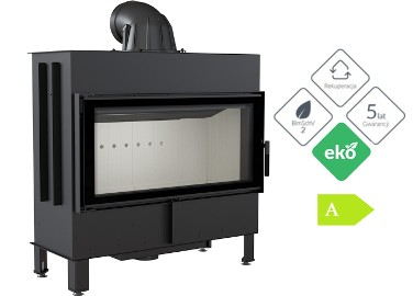 Kominek na drewno, wkład panoramiczny Kratki.pl LUCY 16 kW * EKOPROJEKT