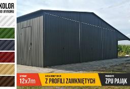 Garaż blaszany 12x7 z profili, blacha w kolorze, wiata