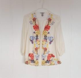 Elegancka bluzka koszula H&M 38 M kremowa kolorowa kwiaty satynowa satyna