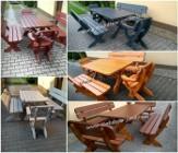 Stół drewniany ogrodowy z ławkami i fotelami
