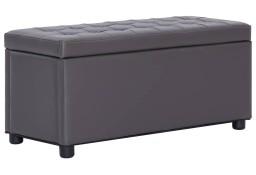 vidaXL Puf z pojemnikiem, 87,5 cm, szary, sztuczna skóra281373