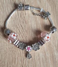 Nowa bransoletka srebrny kolor różowa koraliki beads modułowa kwiaty lilie wiosna