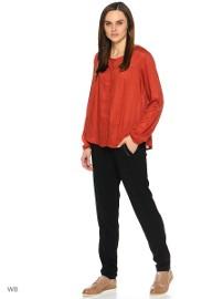 Czerwona bluzka koszula Reserved 40 L ceglana czerwień wiskoza etno haft