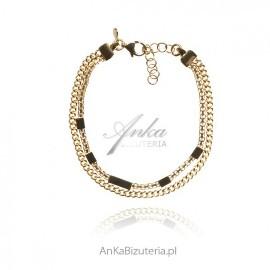 Bransoletka srebrna pozłacana 24 k złotem - modna biżuteria włoska