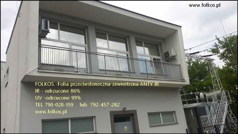 Przyciemnianie szyb Warszawa-folie przeciwsłoneczne zewnetrzne Anty IR, Anty UV  Folkos Folie