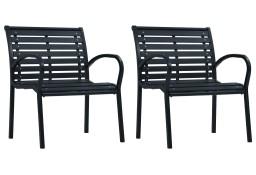 vidaXL Krzesła ogrodowe, 2 szt., czarne, stal i WPC47939