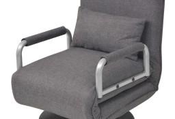 vidaXL Obrotowy fotel rozkładany, ciemnoszary, tkanina244667