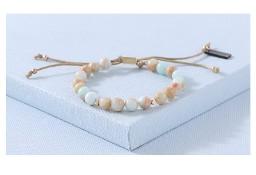 Nowa bransoletka kamienie naturalne beż złoto mięta koraliki boho hippie lato