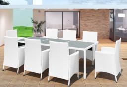 vidaXL 9-cz. zestaw mebli ogrodowych, rattan PE, kremowa biel42500