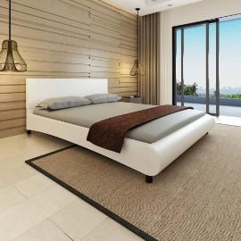 vidaXL Rama łóżka, biała, sztuczna skóra, 160 x 200 cm 242052