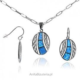 Komplet biżuterii srebrnej z opalem