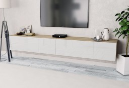 vidaXL Szafki pod TV, 2 szt, 120x40x34 cm, dębowo-białe, wysoki połysk 275114