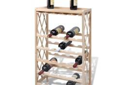 vidaXL Drewniany stojak na 25 butelek wina, lite drewno jodłowe241068