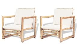 vidaXL Krzesła ogrodowe z poduszkami, 2 szt., bambusowe 43158
