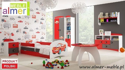 bajkowy zestaw mebli dla dzieci SUPER CAR z łóżkiem i grafką