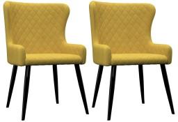 vidaXL Krzesła do jadalni, 2 szt., żółte, aksamit282530