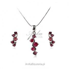 Komplet biżuteria srebrna z rubinami