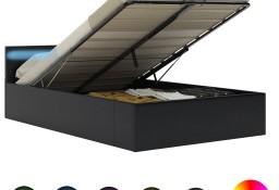 vidaXL Rama łóżka z podnośnikiem i LED, czarna, ekoskóra, 140 x 200 cm285543
