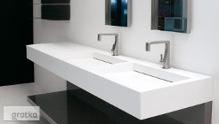 Umywalki na wymiar. Umywalki hotelowe, umywalki podwójne, umywalki z blatem,  blaty łazienkowe solid surface, Corian, Luxum
