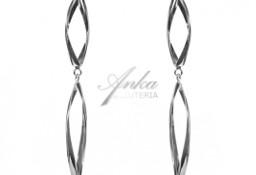 Modna biżuteria srebrna Kolczyki długie 10 cm serpentyny
