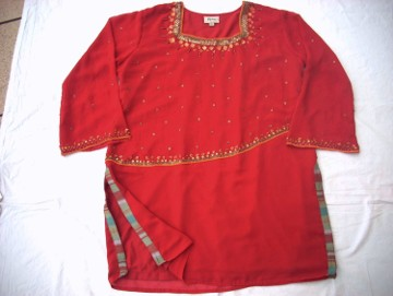 Elegancka Sukienka Tunika Indyjska Ozdobiona 46 48