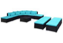 vidaXL Ogrodowy zestaw wypoczynkowy z poduszkami, 9 części, niebieski44204