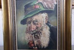"""Stary obraz olejny """" Fajkarz"""" na płótnie w ładnej drewnianej  ramie  40 x 33 cm"""
