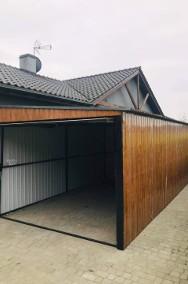 Garaż blaszany drewnopodobny jednospadowy 3x5m z bramą uchylną-2