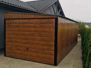 Garaż blaszany drewnopodobny jednospadowy 3x5m z bramą uchylną-1