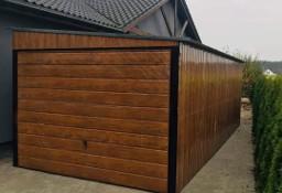 Garaż blaszany drewnopodobny jednospadowy 3x5m z bramą uchylną