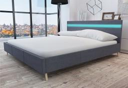 vidaXL Rama łóżka LED, ciemnoszara, tkanina, 180x200 cm 242075