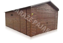 Garaż blaszany drewnopodobny z bramą uchylną do góry