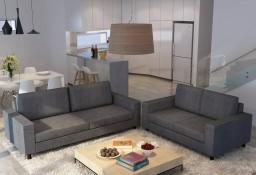 vidaXL Zestaw 2 materiałowych sof dla 5 osób, ciemnoszary275063