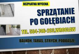 Sprzątanie po gołębiach, cena, balkonu z odchodów, dezynfekcja, Wrocław, usługi