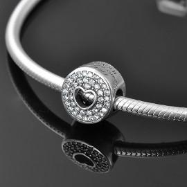 Pandora Charm koralik okrągły serce miłość love z dziurką