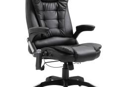 vidaXL Krzesło biurowe z masażem, czarne, sztuczna skóra20235