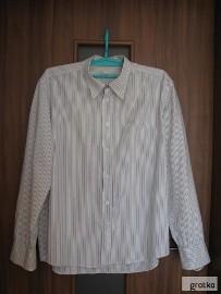 Koszula z długim rękawem biała w grafitowe paseczki Oxide, XL