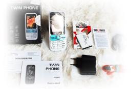 Klasyczny BIAŁY telefon Media-Tech MT843 Twin Phone Dual Sim Telefon na dwie karty Sim dla kobiety!