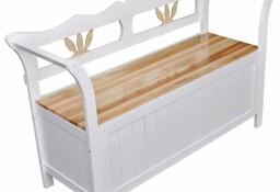 vidaXL Drewniana ławka ze schowkiem, 126x42x75 cm, biała 60765
