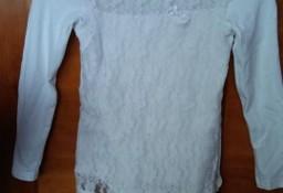 bluzka dziewczęca 134 długi rękaw biała