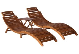 vidaXL 3-częściowy zestaw leżaków ze stolikiem, lite drewno akacjowe279160